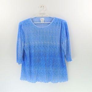 BonWorth Blue White Crinkle Ombre Blouse